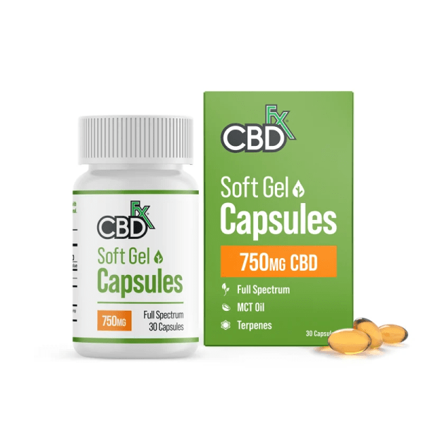 CBDfx Soft Gel Capsules 750mg Bottle and Package | Price Point NY