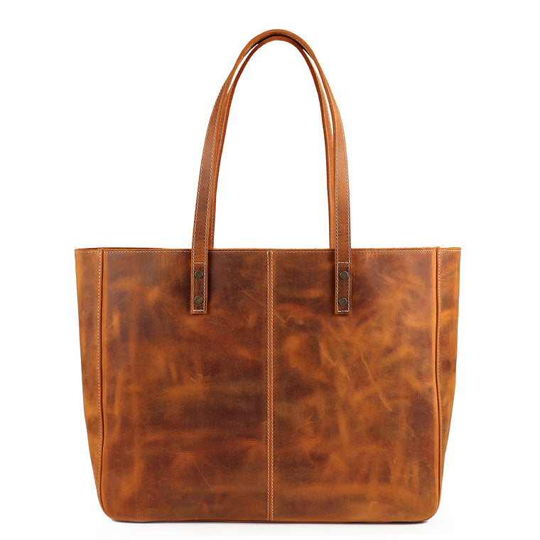 La Biche Leather Tote Bag - Camel