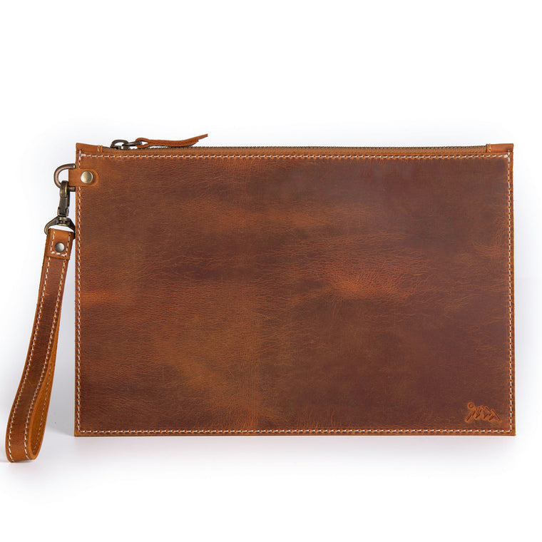 Laberge Leather Clutch - Camel