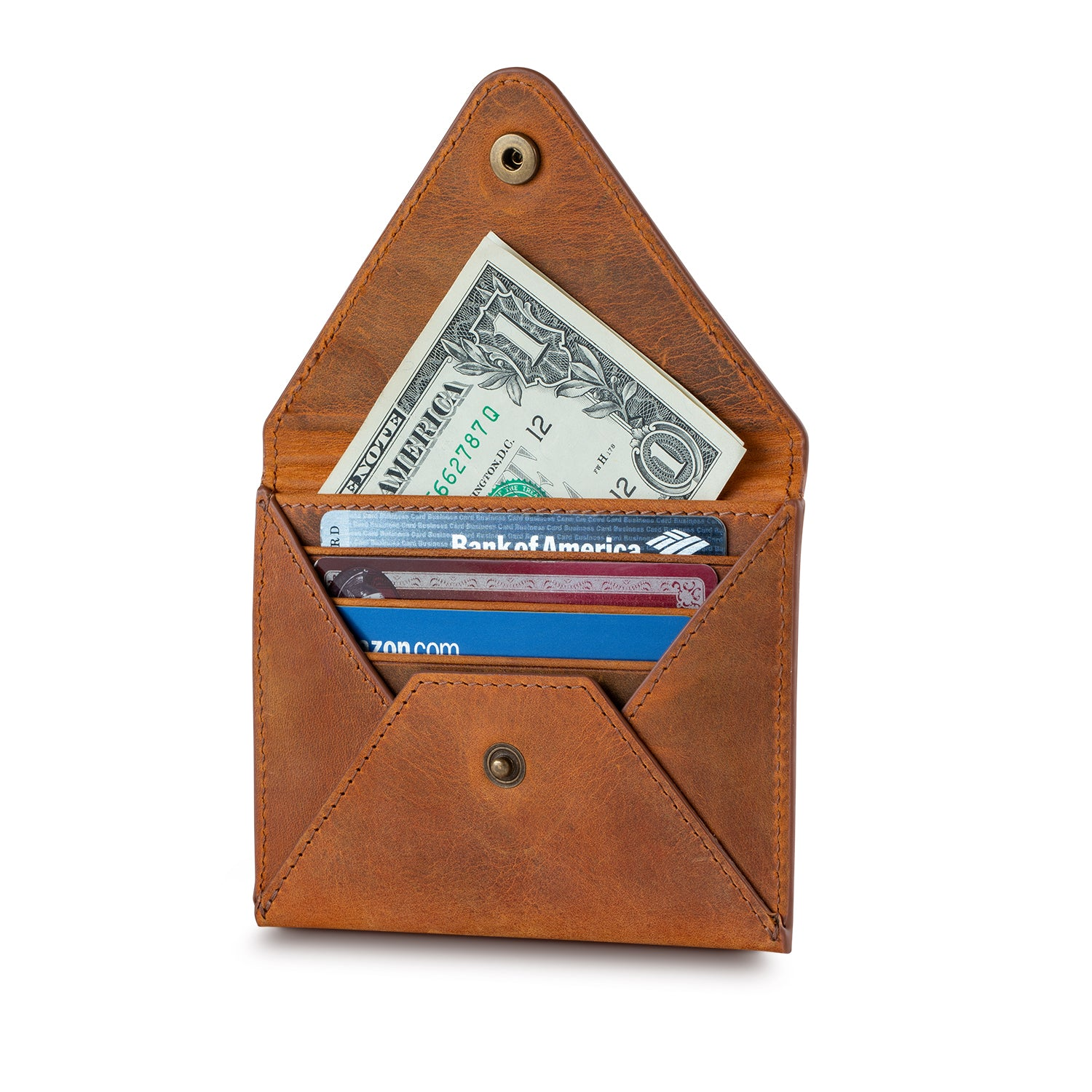 Salmon Leather Envelope Wallet - Small