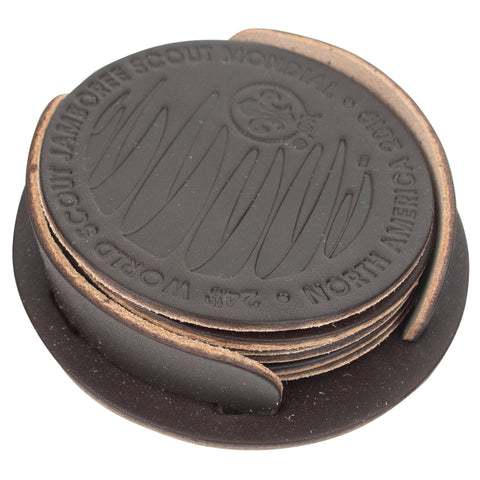 WJ19 Embossed Leather Coaster Set