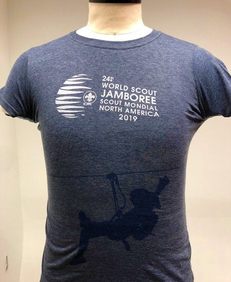 WJ19 Navy Heather Ladies Slim Fit  Zip Lining Tee