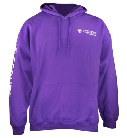 WOSM Purple Hoodie Left Chest and Sleeve Logo