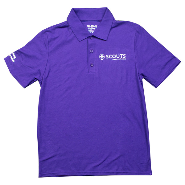 WOSM Polo Purple White Chest Logo