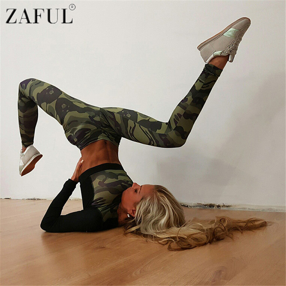 ZAFUL Camouflage Long Sleeve Crop and Leggings -  Set