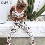ZAFUL Summer Leaf Print Sports Bra and Leggings - Set