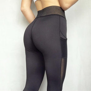A4Y Elastic Mesh High Waisted Leggings with Pocket