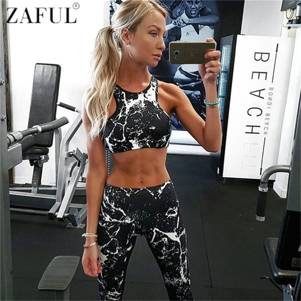 ZAFUL Splash-Ink Printed Sports Bra and Leggings - Set