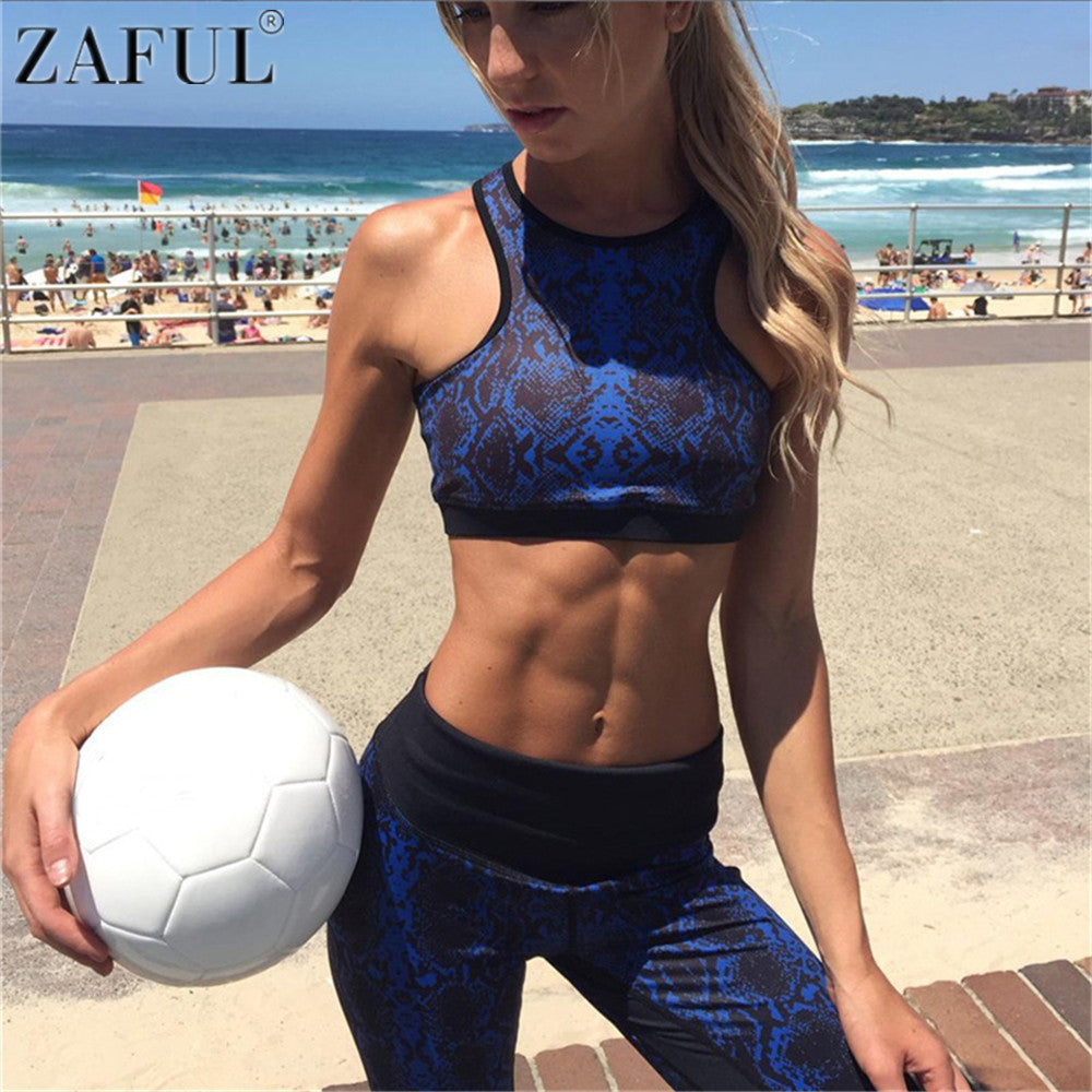 ZAFUL Blue Printed Sports Bra and Leggings - Set