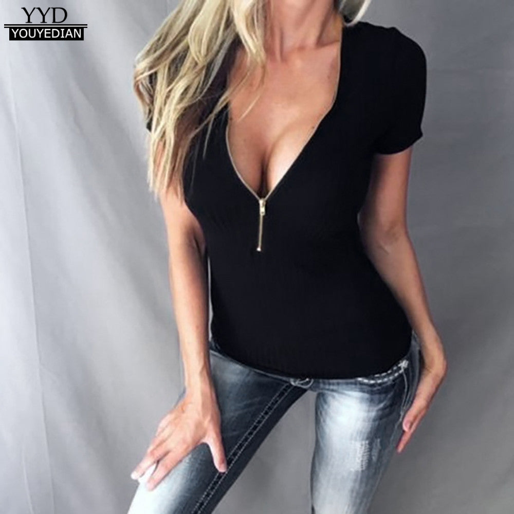 Zipper V Neck T Shirt