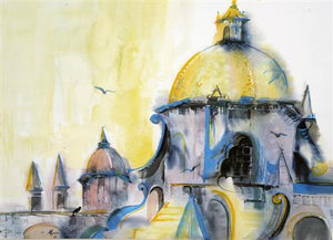 """Cathedral Dome"" Original Mixed Media painting by Carole Myers"