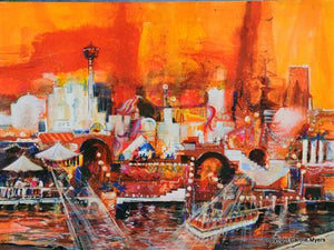 """Summer Evening in San Antonio"" Float Mounted Matted Giclee by Carole Myers"