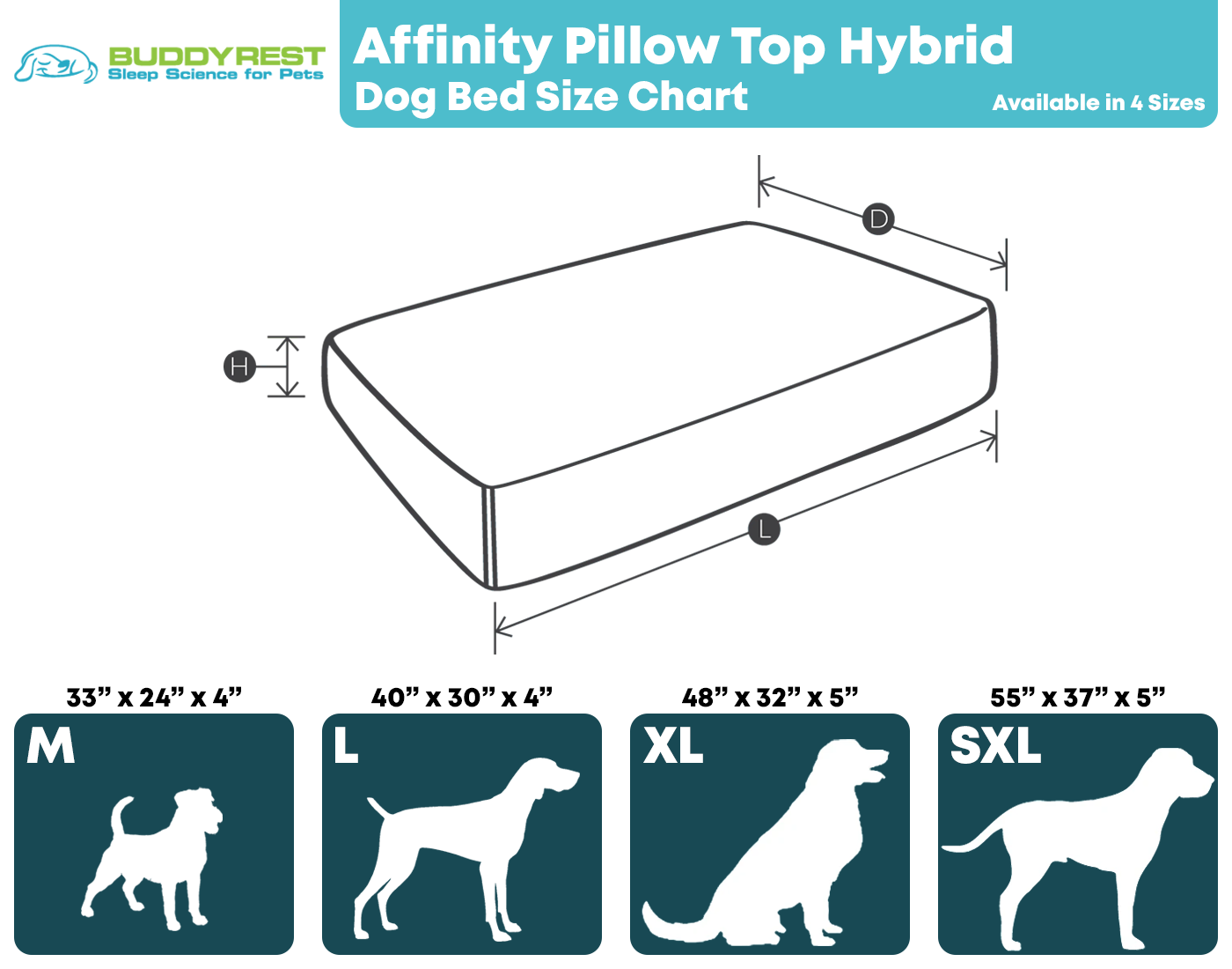 Affinity Pillow Top Size Chart