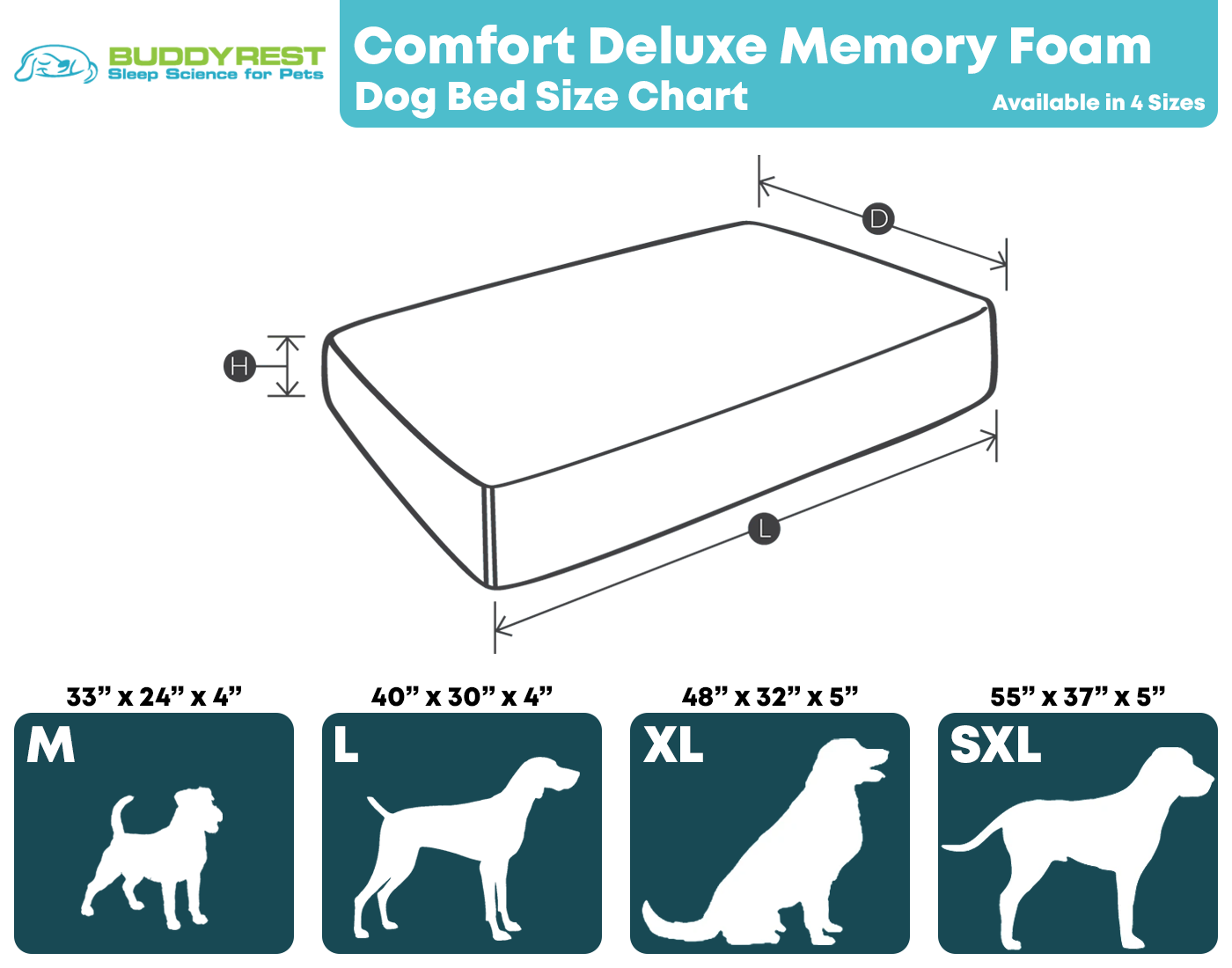 Comfort Deluxe Dog Bed Size Chart