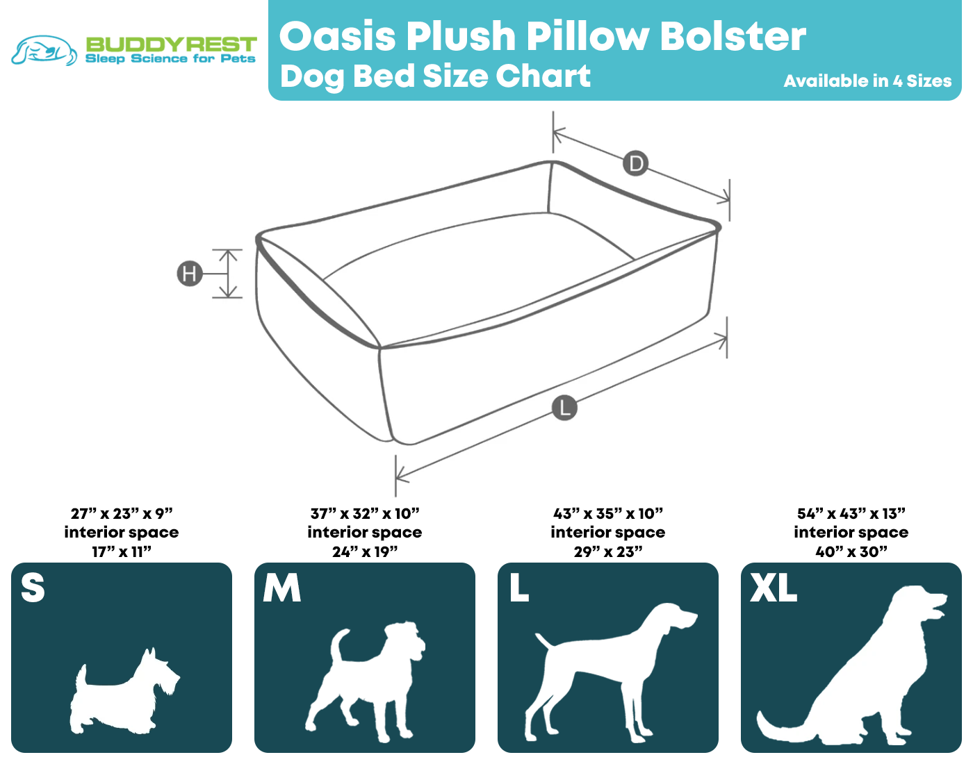 Oasis Plush Pillow Bed Size Chart