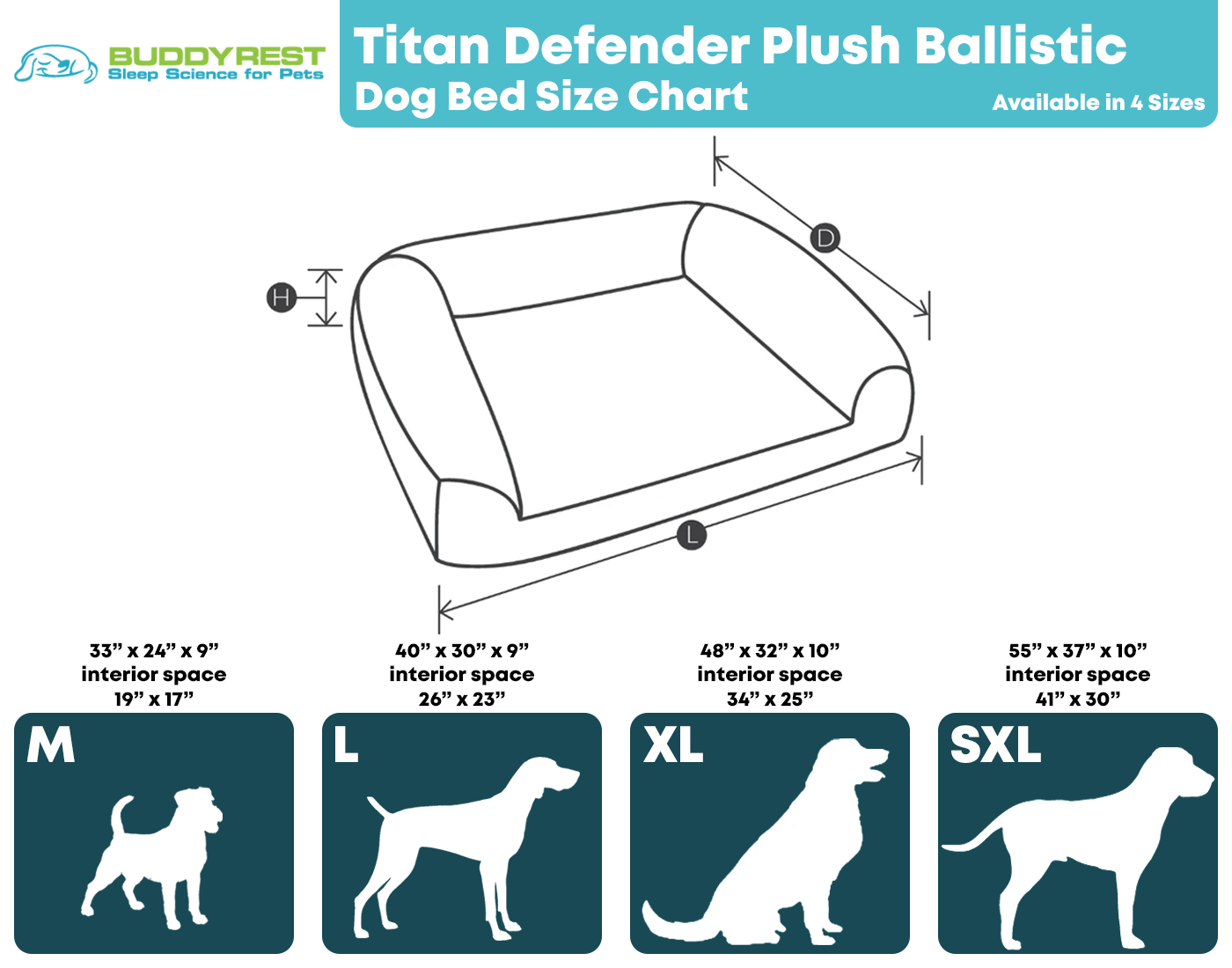 Titan Defender Dog Bed Size Chart