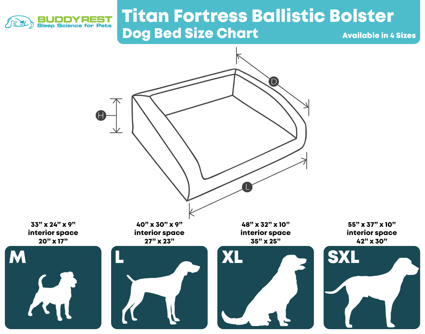 Titan Fortress Dog Bed Size Chart