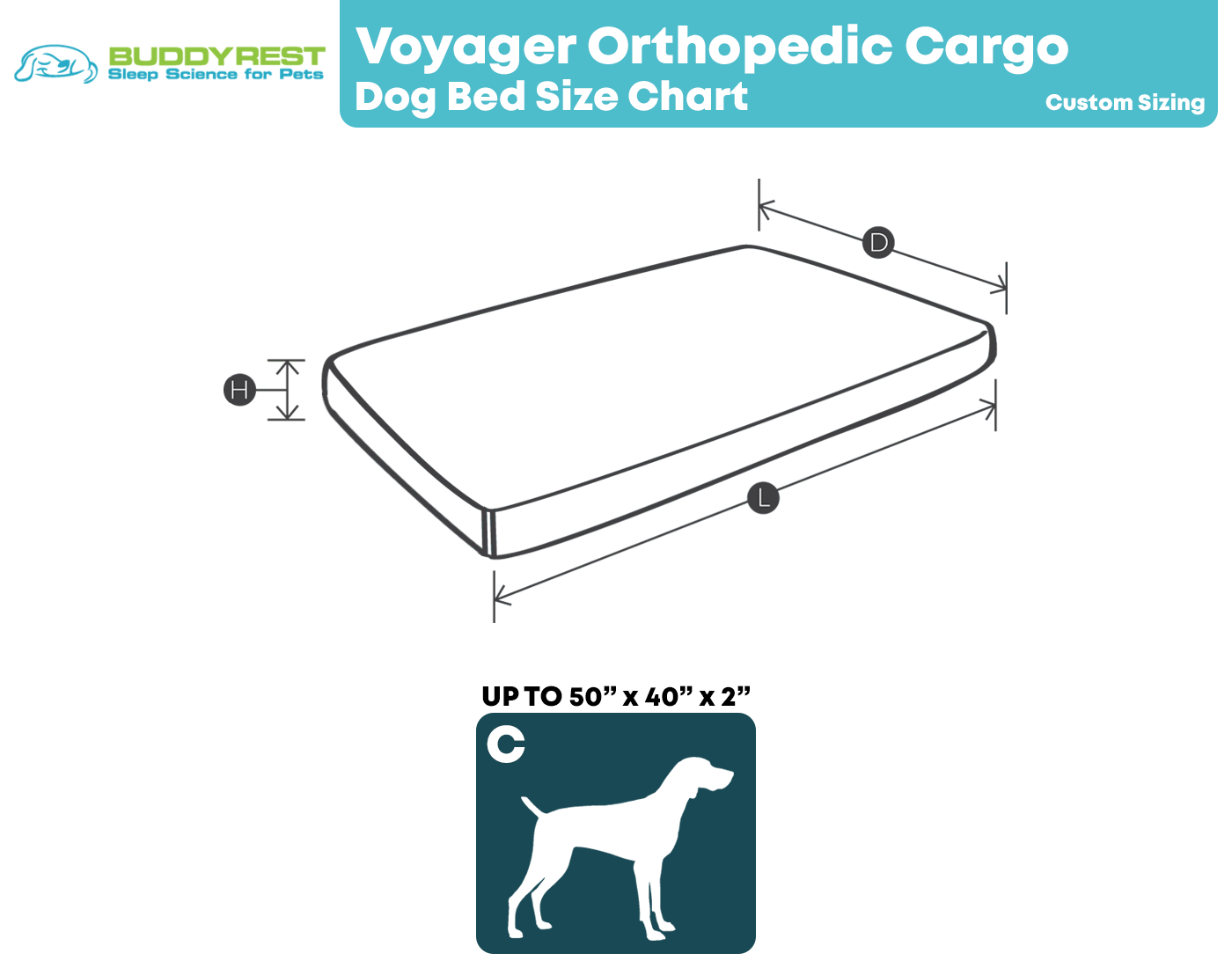 Voyager Dog Bed Size Chart