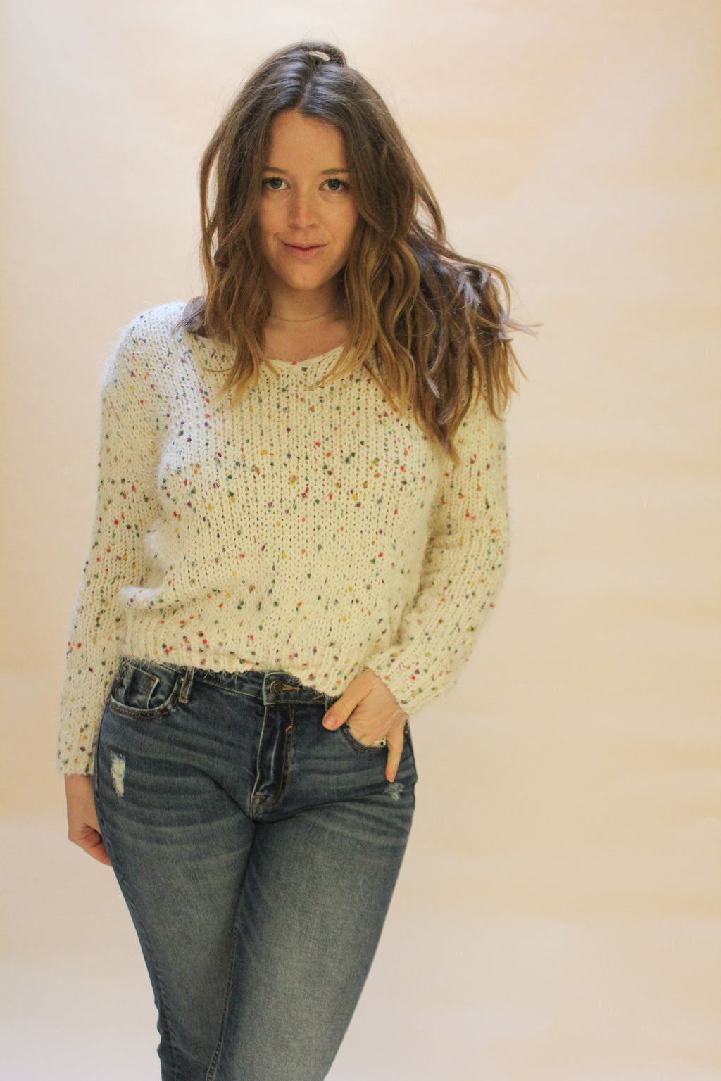 Confetti Cable Knit Sweater - Emma and Evey