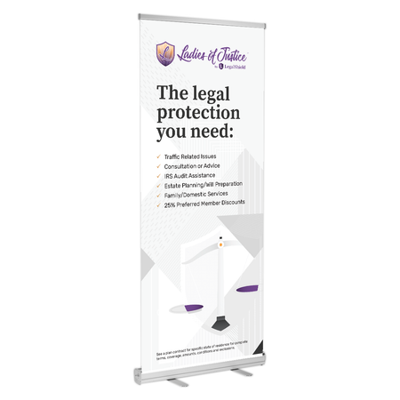 "Ladies of Justice Retractable Banner Stand (33""x77"")"