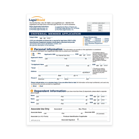 Universal Member Application