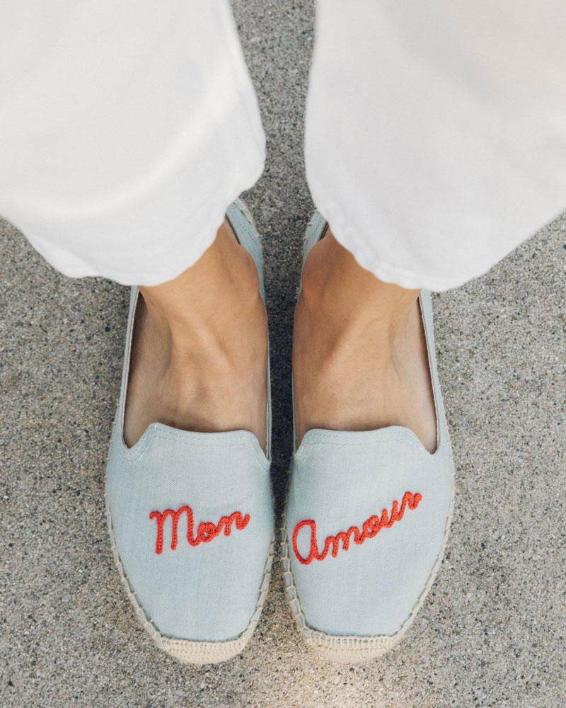 Mon Amour Smoking Slipper chambray