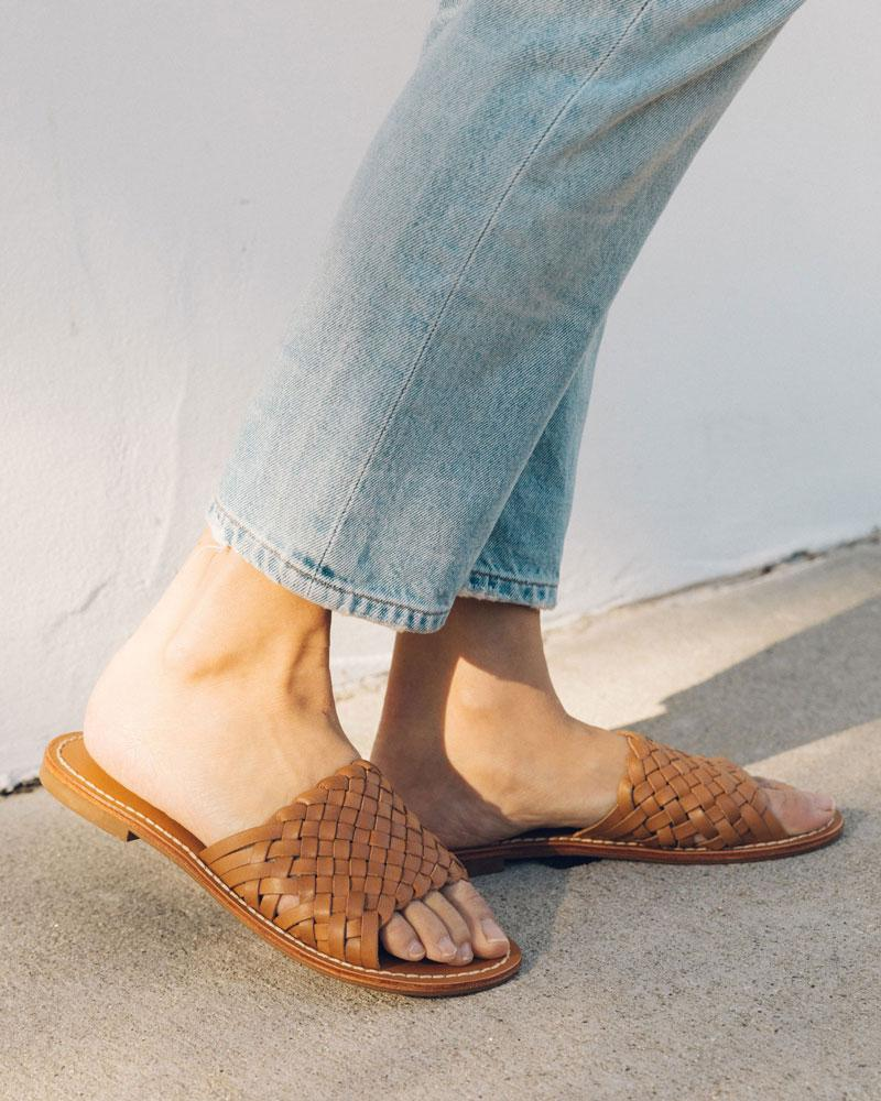 Woven Leather Slide Sandal nude