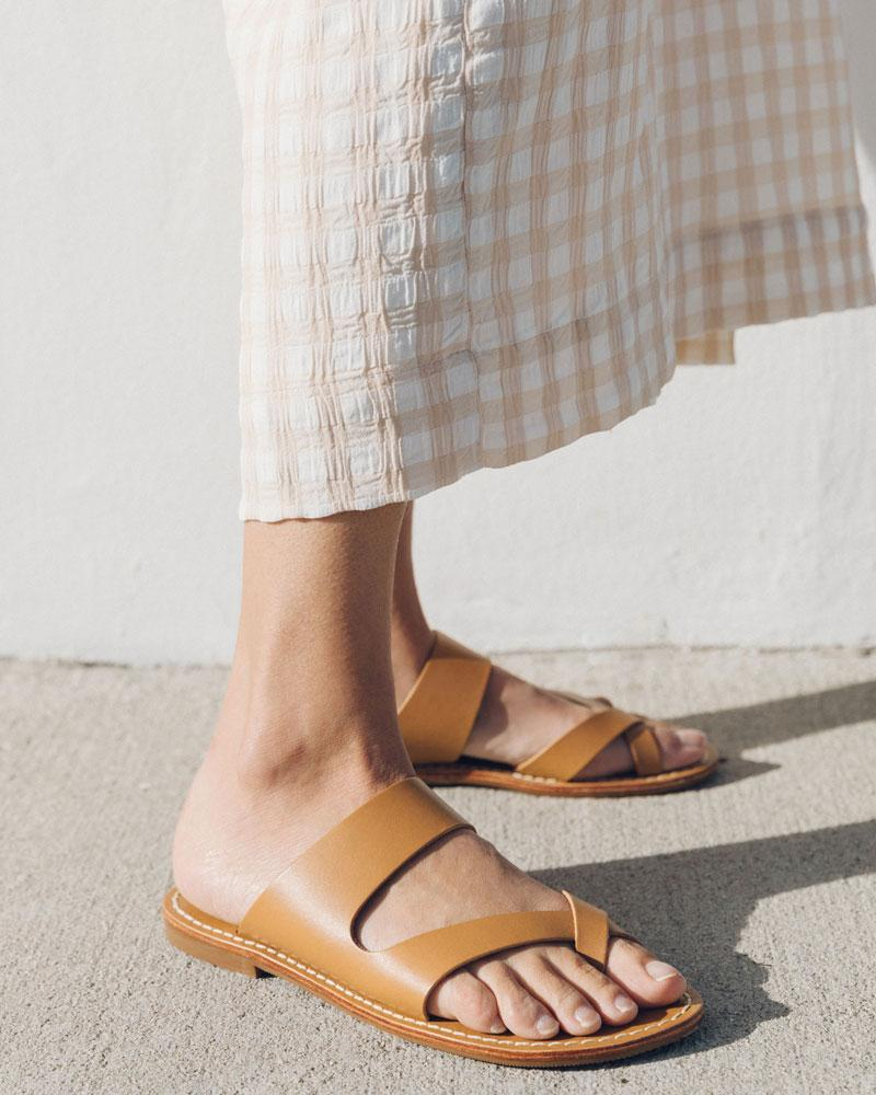 Mila slide sandal tan