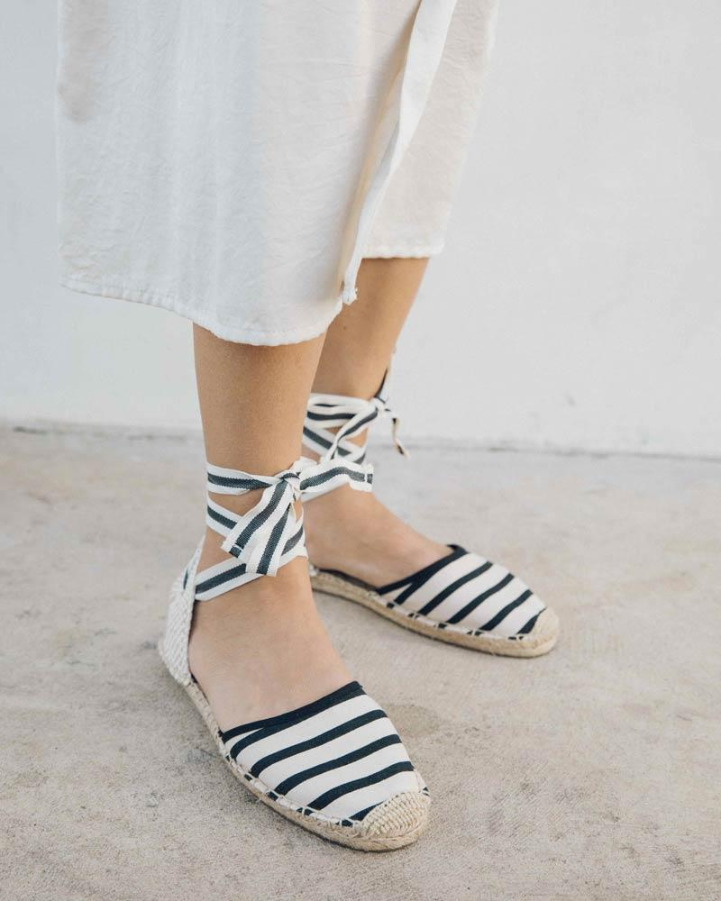 Classic Striped Sandal natural-black