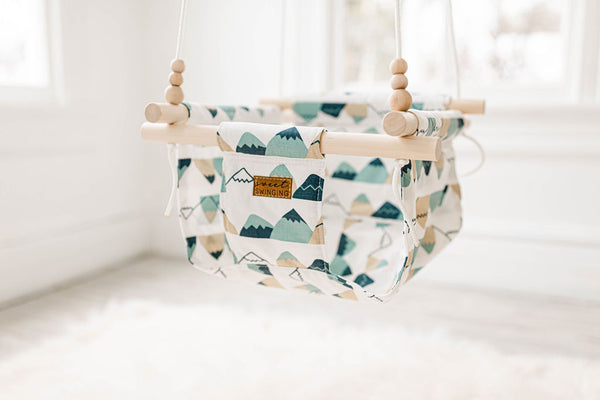 READY TO SHIP Mountain Fabric Baby Swing