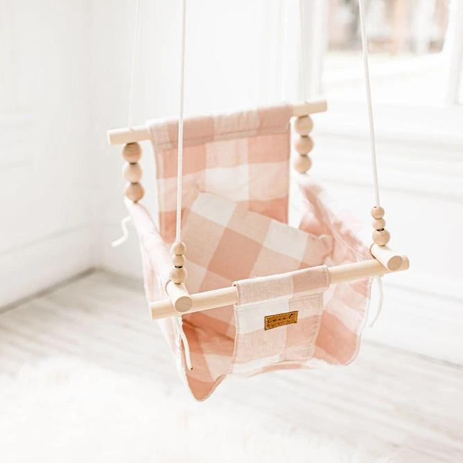 Pink and White Buffalo Plaid High Back