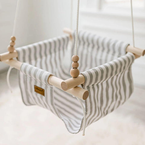 White and Grey Thin Stripe Fabric Baby Swing
