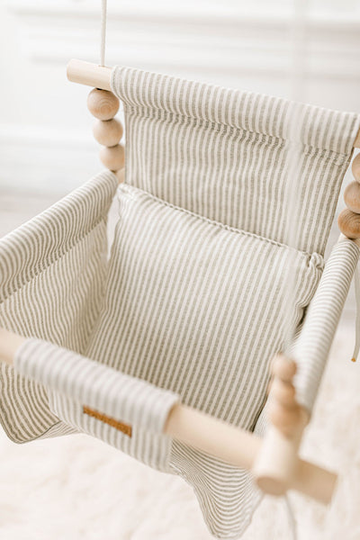 Imperfect: High back white and greige stripes