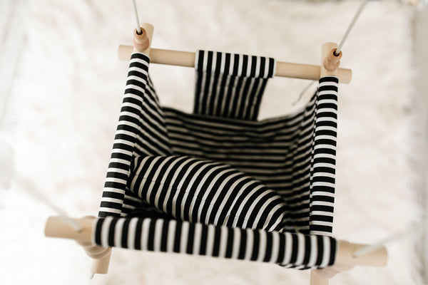 High back black and white stripes
