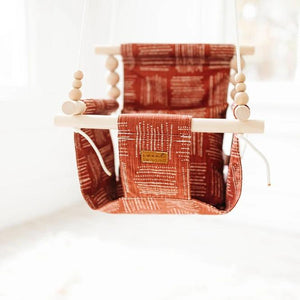 Boho Rust High Back Fabric Baby Swing