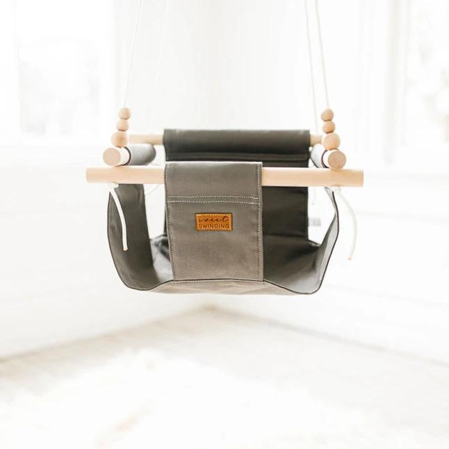 Low back grey baby swing