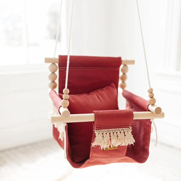 High Back Boho Dusty Pink Swing