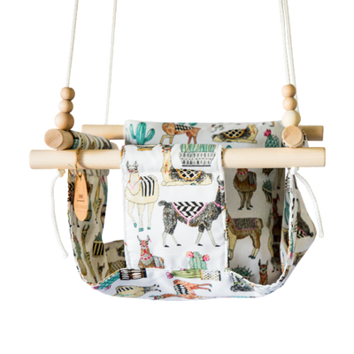 Llama and Cactus Fabric Baby Swing