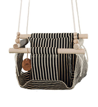 Black and Linen Fabric Baby Swing