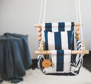 Navy and White Stripe Fabric Baby Swing