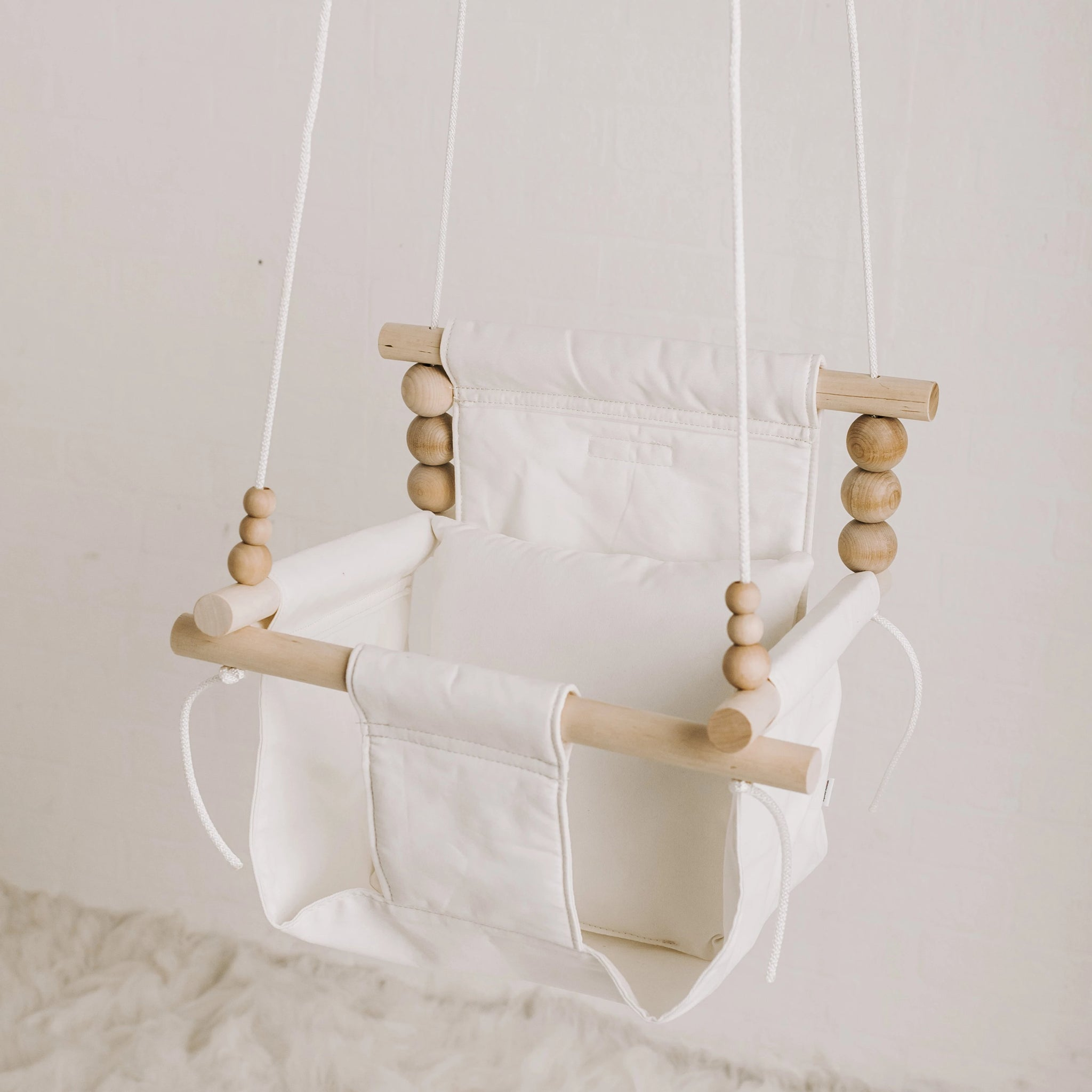 High Back White Fabric Baby Swing