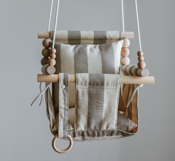 Grey and Beige Stripe Fabric Baby Swing