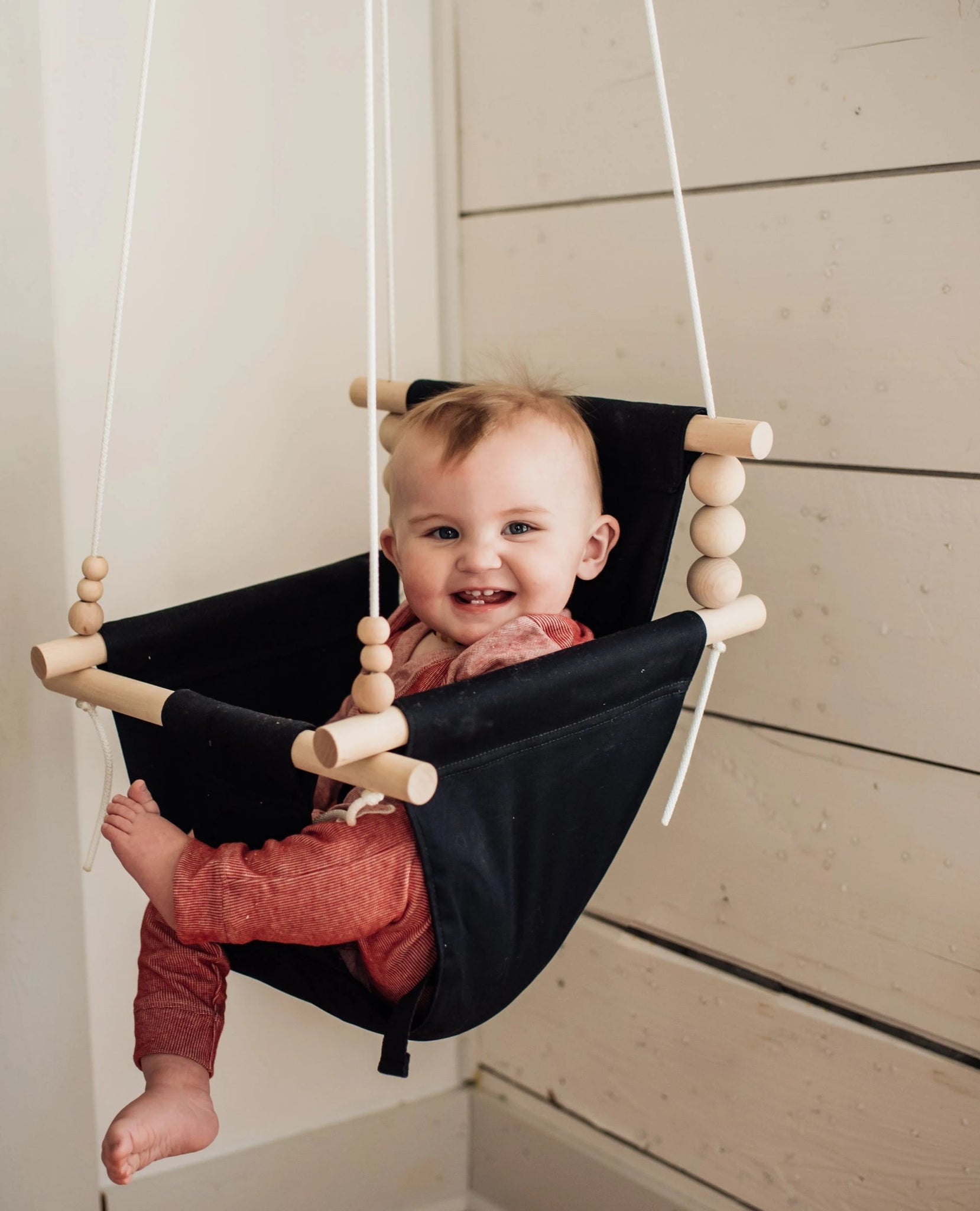 Imperfect: High Back Black Fabric Baby Swing with 2 pillows