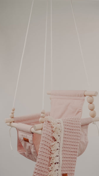 High Back Bubblegum Pink Fabric Baby Swing