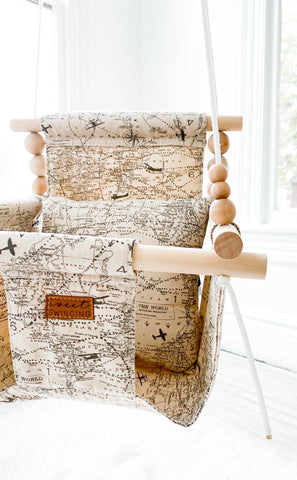High back Navigation Map Fabric Baby Swing