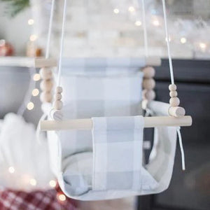 Grey Buffalo Plaid Fabric Baby Swing