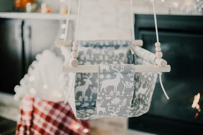 Grey Woodland Fabric Baby Swing