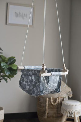 Green/Grey Cactus Fabric Baby Swing