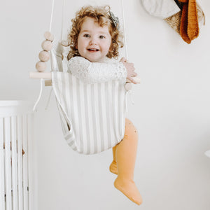High back White and Grey Thin Stripe Fabric Baby Swing