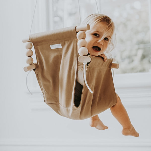 Khaki High Back Fabric Baby Swing